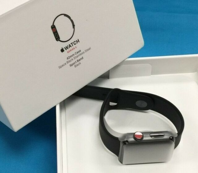 New Apple Watch Series 3 42MM Stainless Steel & Black Sport Band. GPS + CELLULAR