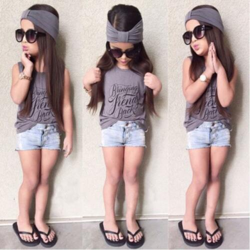 Kids Baby Girl Tops Vest Tee+Jeans Shorts Pants+Headband Clothes Outfit 3PCS Set