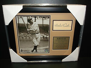 BABE RUTH Autographed Cut Signature Facsimile Reprint Framed 8x10 Photo YANKEES