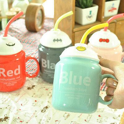Lovely Ceramic mug with lid spoon Coffee Tea Cup Travel Mug Cup Christmas Gifts