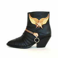 Giuseppe Zanotti $1,938 Gold Metal Winged Star Cuban Heel Zipper Boots 36 /6
