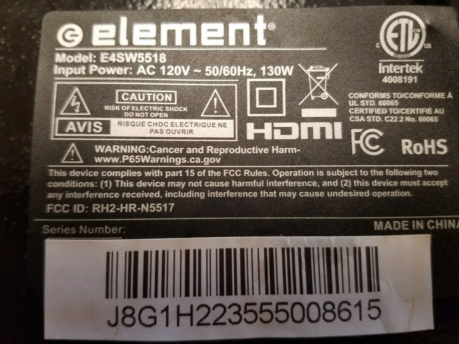 element 55in tv parts model number e4sw5518. Available Now for 150.00
