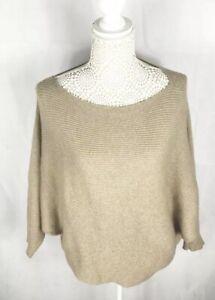 Zara-ladies-Knit-Tan-Short-Natural-Long-Sleeve-Top-Kneck-Sz-Large-Casual