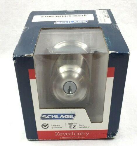 Schlage Georgian Door Knob-Satin Nickel Keyed Entry F51 V GEO 619 CAM New