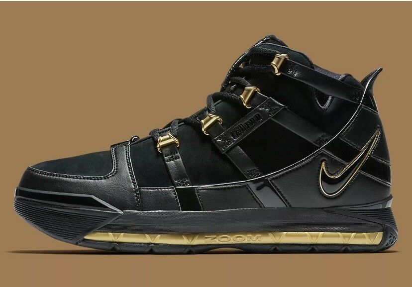 best sneakers 1ef75 c2971 2018 Nike LeBron III 3 QS QS QS Black gold Men Basketball shoes Sz 7.5  AO2434
