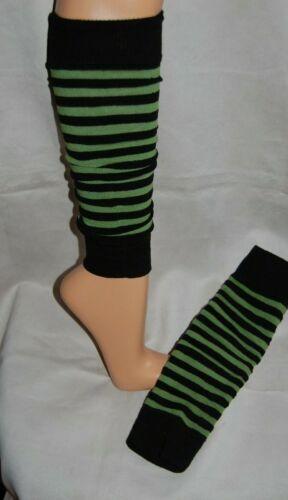 Stulpen für Bein und Arm schwarz-grün gestreift