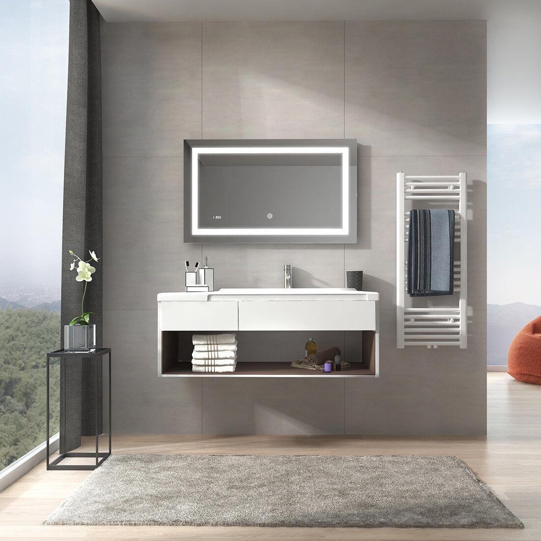Badspiegel mit LED Beleuchtung 100x60 mit Touch Schalter UHR Badezimmer Spiegel