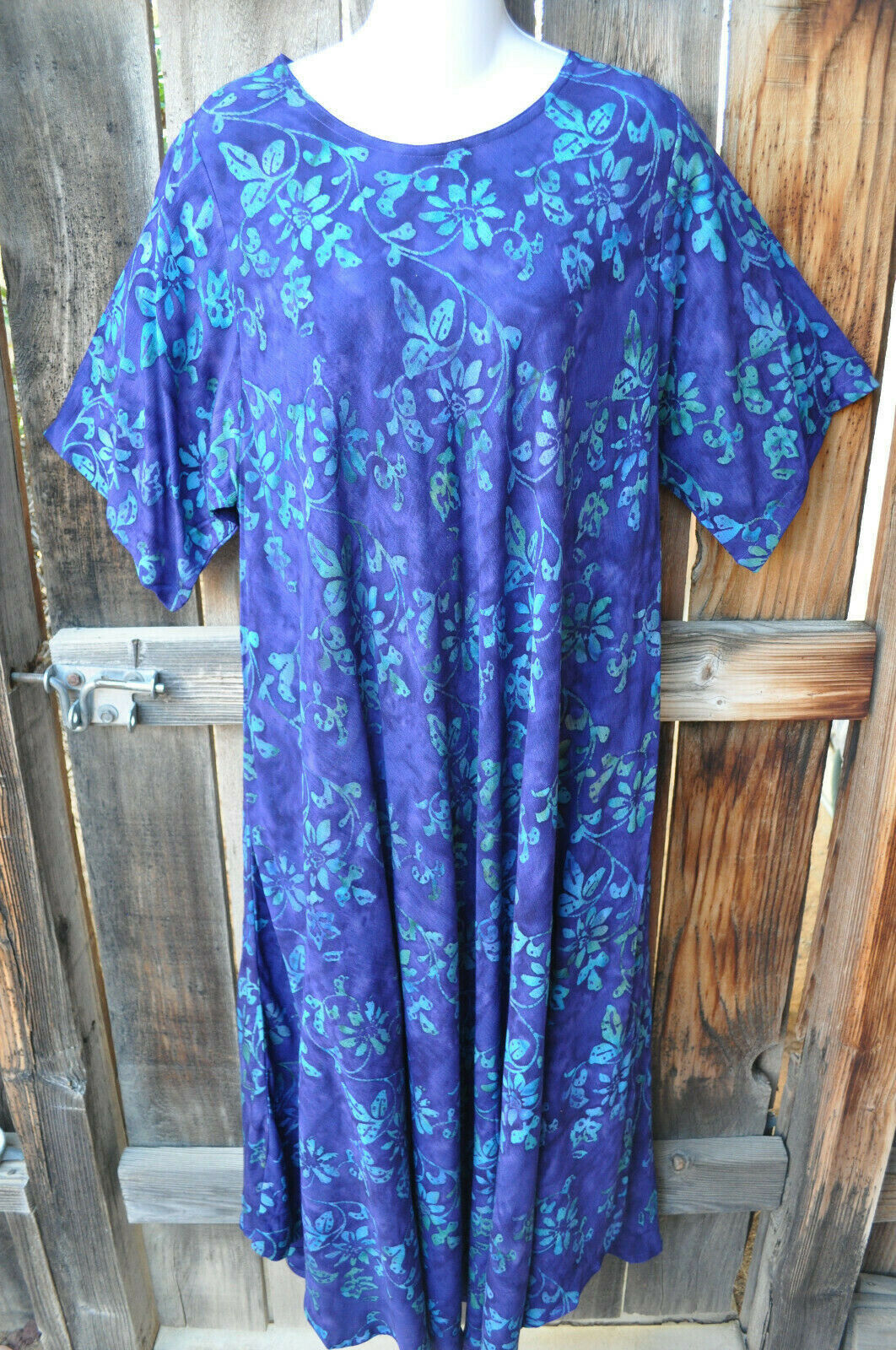 ART TO WEAR LAGENLOOK MADRAS TUNIC DRESS IN NEW Blau RIDGE BY MISSION CANYON,OS