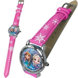 Disney-Frozen-Kinder-Armband-Uhr-Analog-Zeiger-Kinderuhr-Armbanduhr-Elsa-Rund