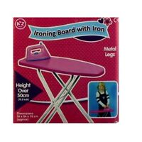 Girls Foldable Metal Frame Pink Ironing Board With Iron Toy