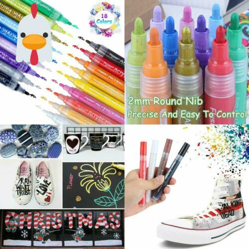 18 Farben Premium Wasserfest Paint Marker Set Art Fil Acrylstifte Marker Stifte