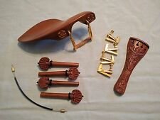 Violin Carved Set - Tailpiece, Pegs, Chinrest, End Pin, Fine Tuners