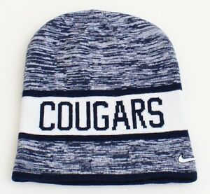 327152e3bffc4 Nike Reversible BYU Cougars Dark Blue   White Knit Beanie Men s One ...