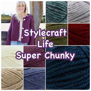 Stylecraft-LIFE-SUPER-CHUNKY-Acrylic-and-Wool-Knitting-Yarn-100g-Ball