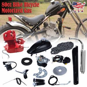 80cc-Bike-Bicycle-Motorized-2-Stroke-Petrol-Gas-Motor-Engine-Kit-Set-Red-USD
