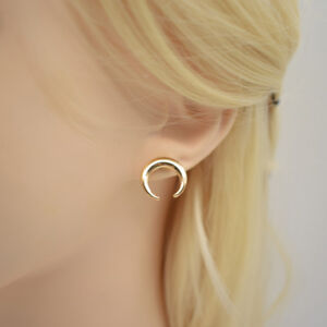85f2da4b7 Image is loading Minimalist-Small-Crescent-Moon-Gold-Stud-Earrings- Hypoallergenic-
