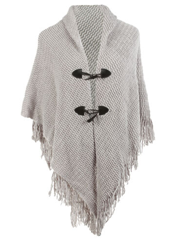 GRAY SOLID KNIT WOMENS PONCHO WITH FRONT CLOSURE