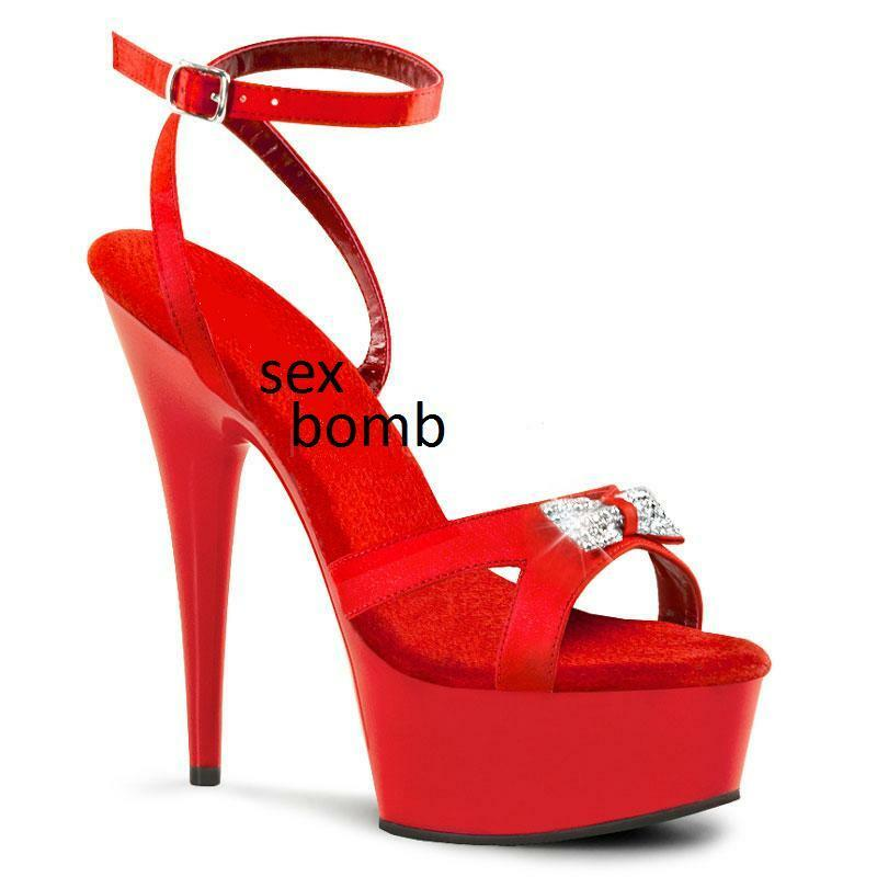 SEXY sandali rossi STRASS cinturino plateau TACCO 15 n. 35 fashion GLAMOUR