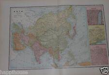 1892 Antique Color Map - Asia / India China Japan 14 x 22 / George F  Cram