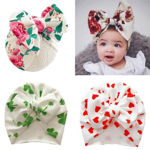 Newborn Beanie Baby Hat Soft Cotton Flower Bowknot Baby Cap Toddler Infant Girl@