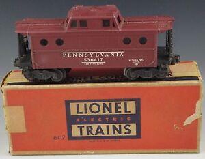 LIONEL-RED-CABOOSE-6417-PENNSYLVANIA-POSTWAR-TRAIN-CAR-VERY-GOOD-O-027-GAUGE