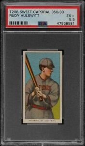 Rare-1909-11-T206-Rudy-Hulswitt-Sweet-Caporal-350-St-Louis-PSA-5-5-EX