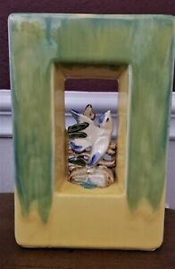 Vintage McCoy Arcature Double Sided Vase Planter with Birds 1950s