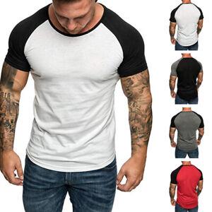 Mens-Summer-Short-Sleeve-T-shirt-Sports-Slim-Fit-Crew-Neck-Basic-T-Shirt-Tee
