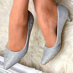 Ladies-Mid-Low-Kitten-Heel-Sparkly-Diamante-Evening-Shoes-Silver-Party-Pumps