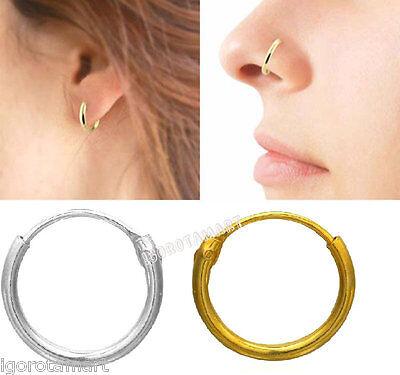 Gold Silver Clicker Ring Hinge Loop Hoop Tragus Nose Earring Septum Helix Rings Ebay