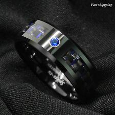 Black and blue Carbon Fiber Tungsten Ring Blue Diamond Mens jewelry Wedding Band