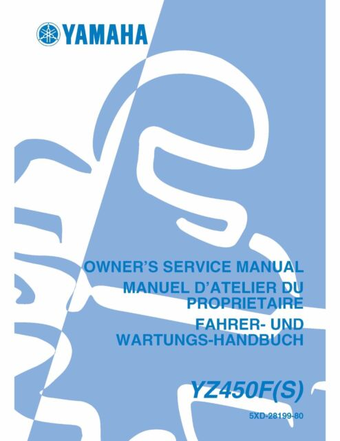 Yamaha Owners Service Workshop Manual 2004 Yz450f S