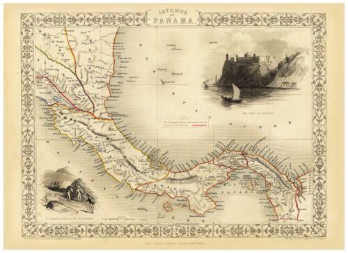 Old Vintage Map of Isthmus of Panama richly illustrated Tallis 1851