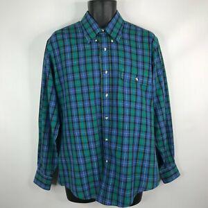Vintage-80s-Levis-Colorgraphs-Mens-Blue-Green-Plaid-Button-Down-Shirt-Size-L