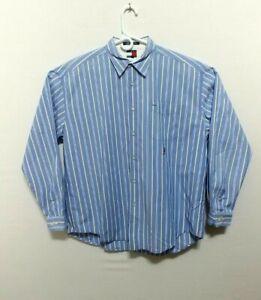 c0df4d22 Tommy Hilfiger Mens XL Long Sleeve Button Down Blue Striped Shirt ...