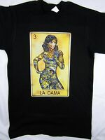 Loteria Game La Dama Funny Mexico Black Tee Men's Shirt Choose A Size