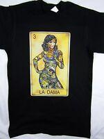 Loteria Game La Dama Funny Mexico Black Tee Men's Shirt Choose A Size