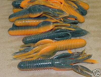 "4/"" Craw Tube Craw Orange Bass Tube Solid Head 50 count bag bulk plastic worms"