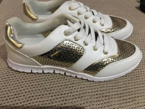 Size Eu Lace 5 Trainers Ladies White Uk Up Gold Guess 4 5 37 Authentic fZPwqc0