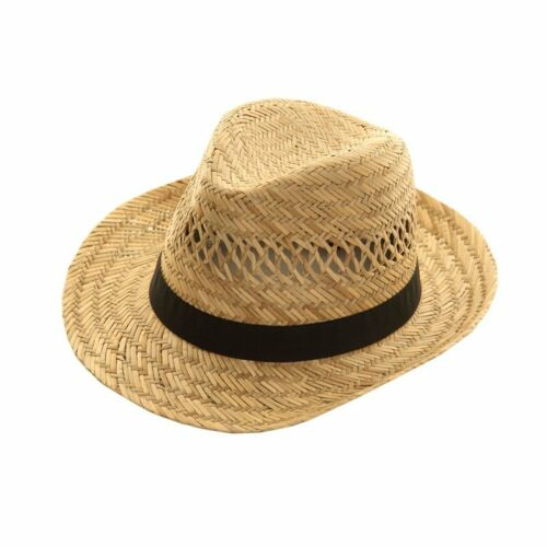 New Unisex Ladies Gents Summer Sun Beach 100% Straw Trilby Hat With Black Band