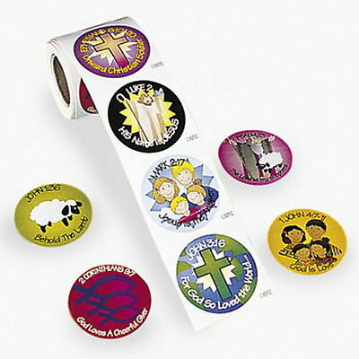 100 ASSORTED BIBLE VERSE ROLL STICKERS VBS RELIGIOUS