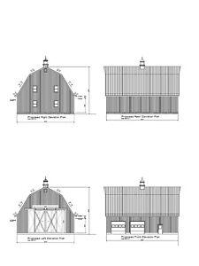 50'X40' BARN GAMBREL ROOF POLE BARN PLAN #17PB4050GMB-01 ...