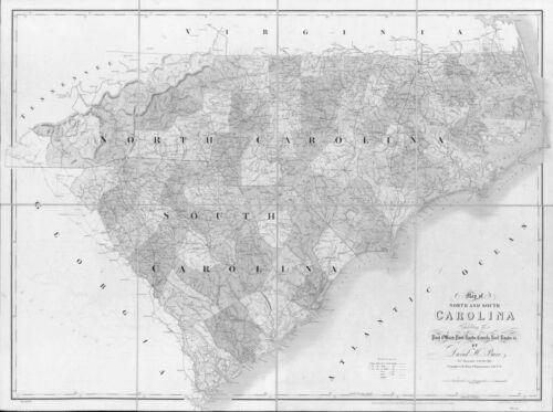1839 NC MAP JOHNSTON JONES LEE LENOIR LINCOLN COUNTY Greenville Hendersonville