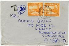 CYPRUS to GB POSTAGE DUE FAMAGUSTA 2 x 1pi FRANKING...CHARGED 20c