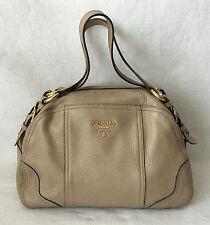 AUTHENTIC PRADA Milano Softcalf Nude Leather Hand Bag Beige.
