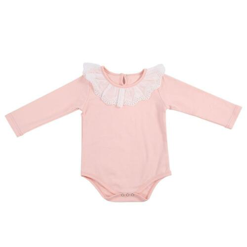 Navy Blue//White//Pink Baby Girl/'s Lace Collar Long Sleeve Cotton Jumpsuit Outfit