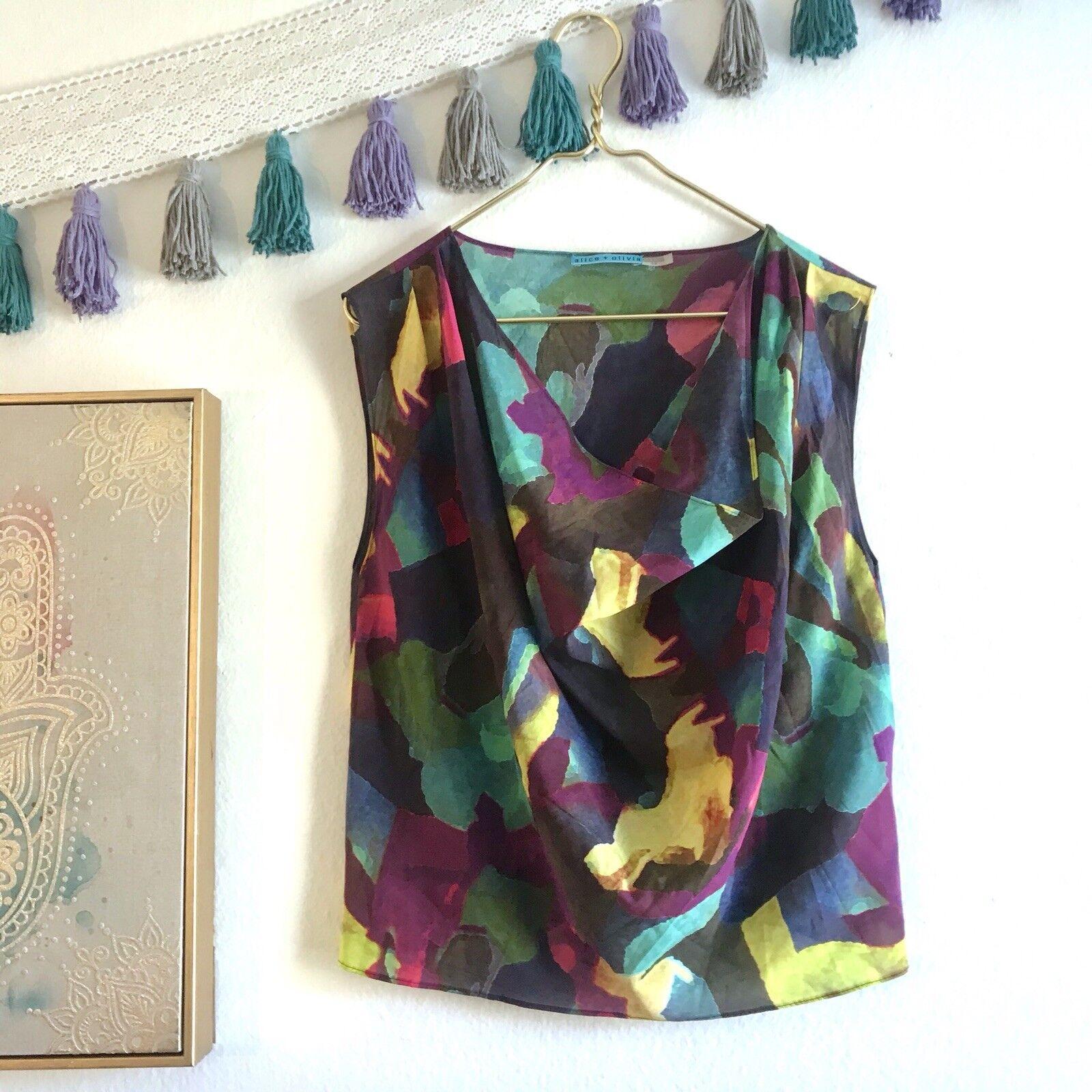 Alice +Olivia Drape Neck Silk Blouse 'Fall Abstract' lila Blau Grün Gelb