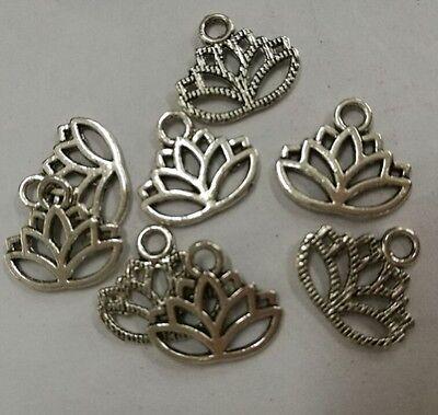 20Pcs Tibetan silver color follow lotus design charms h0026