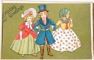 Vintage Die Cut Postcard Birthday Greetings Girls Boy Victorian Matte Frame