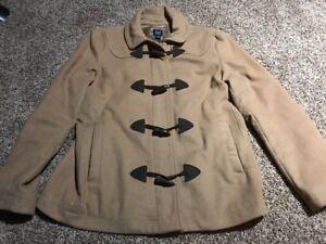Gap-Womens-Brown-Wool-Blend-Trench-Coat-Peacoat-Sz-Large-L